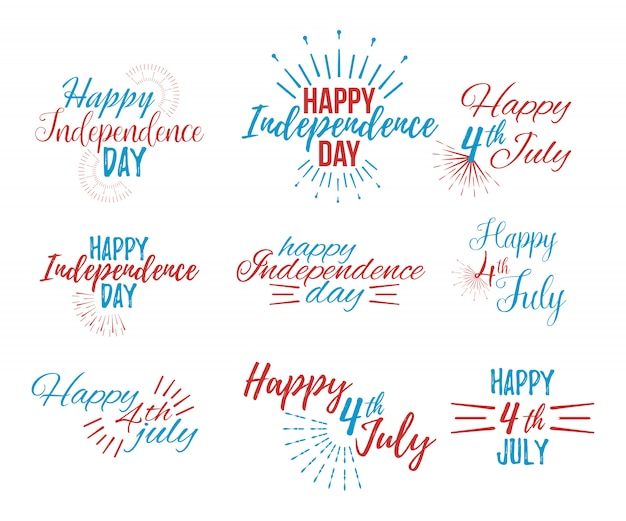 Happy 4th july and independence day lettering Premium Vector