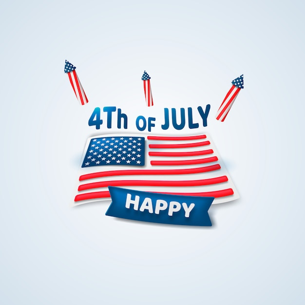 Happy 4th of july. independence day. Premium Vector