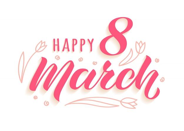 Happy 8 марта рукописные надписи с каракули тюльпаны для женской открытки Premium векторы