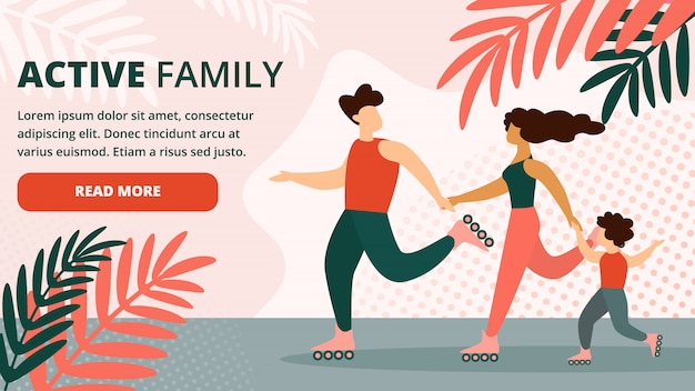 Happy active family healthy outdoors lifestyle Premium Vector