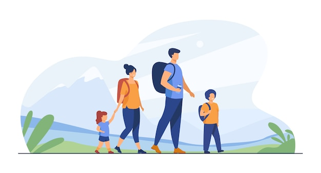 Happy active family walking outdoors Free Vector