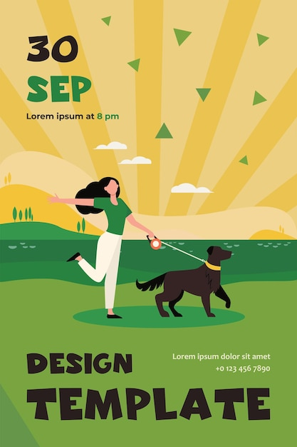 Happy active woman walking dog on leash outdoors. girl with pet near lake, landscape, water flat flyer template Free Vector