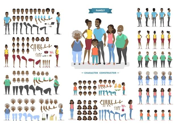 Счастливый афро-американский семейный набор символов для анимации с различными видами, прическами, эмоциями лица, позами и жестами. вид спереди, сбоку и сзади. иллюстрация в мультяшном стиле Premium векторы