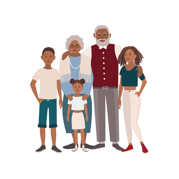 Happy african american family portrait Premium Vector