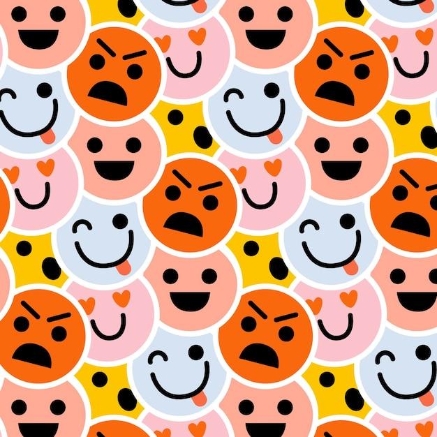 幸せと怒っている顔文字パターンテンプレート 無料ベクター