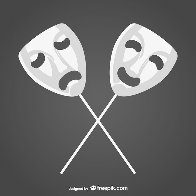 Happy and sad white masks