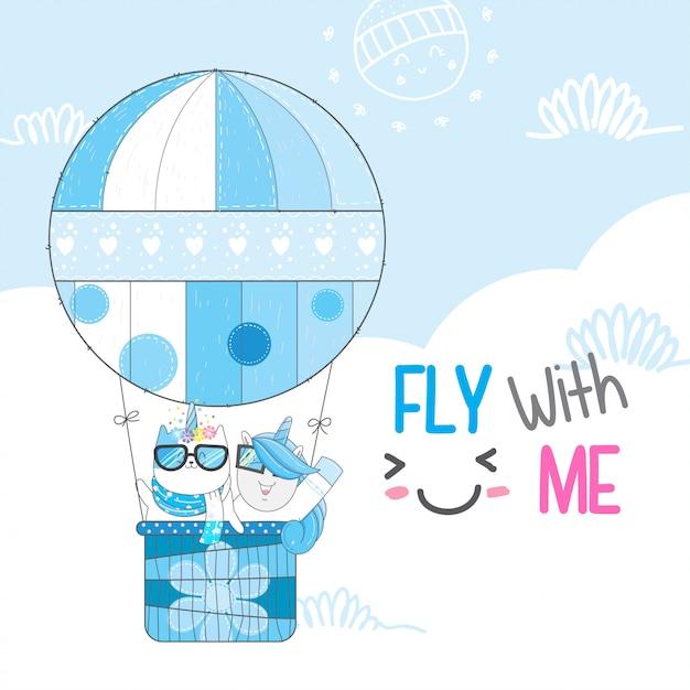 Happy animal fly Premium Vector