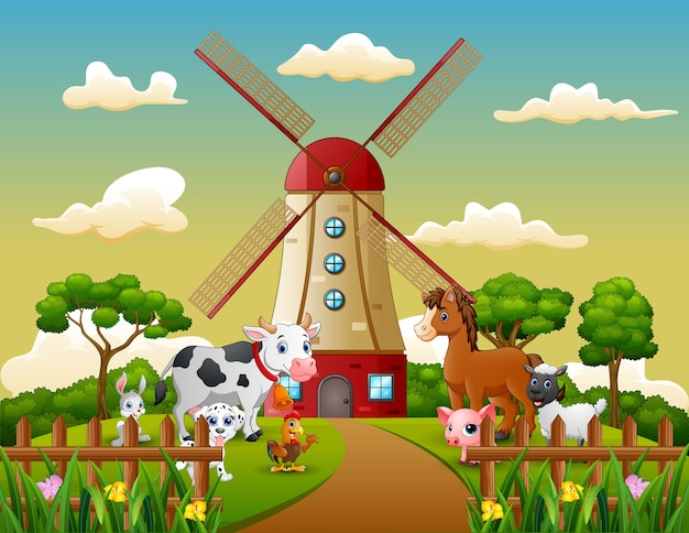 Happy animal with windmill building background Premium Vector