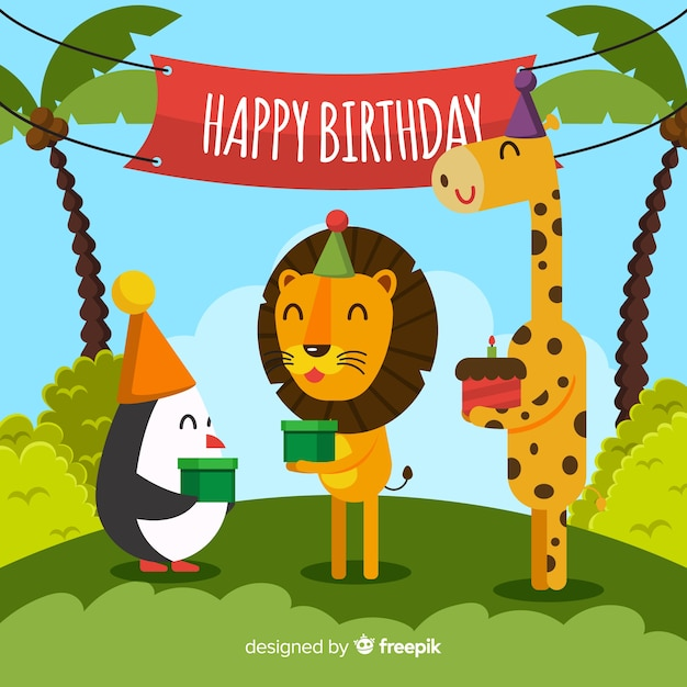 Happy animals birthday background Free Vector