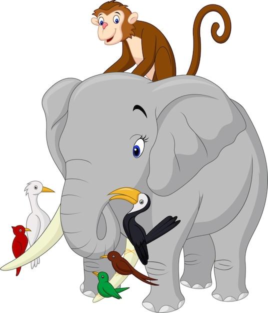 Happy animals cartoon Premium Vector