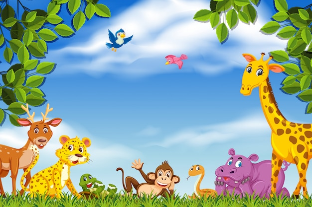 Happy animals in nature scene Premium Vector