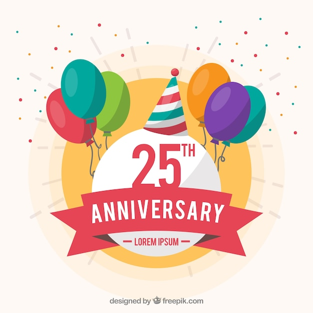 Happy anniversary background with ballons Free Vector