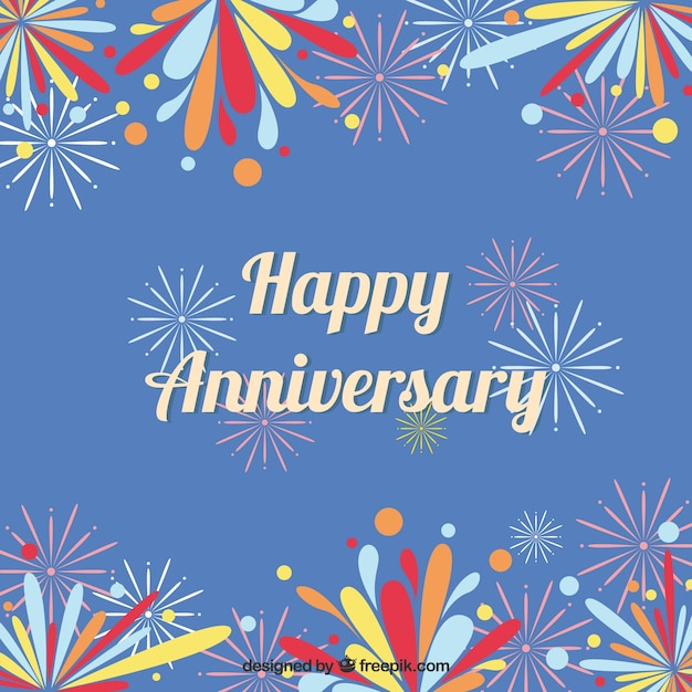 Happy anniversary background with colorful\ sparks