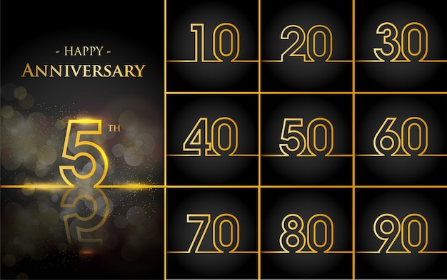 Happy anniversary background with gold lines Free Vector