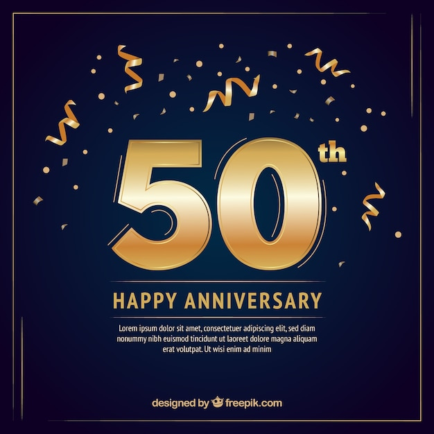 Happy anniversary card in golden style Free Vector