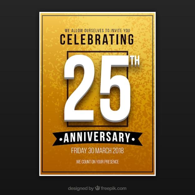 ゴールデンスタイルのhappy anniversary card Premiumベクター