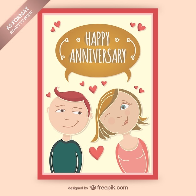 Happy anniversary card with couple in love Vector | Free Download