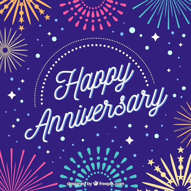 Happy anniversary card with fireworks Vector Free Download