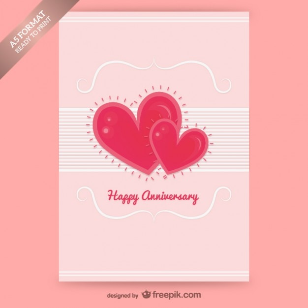 Happy anniversary card with hearts vector free download