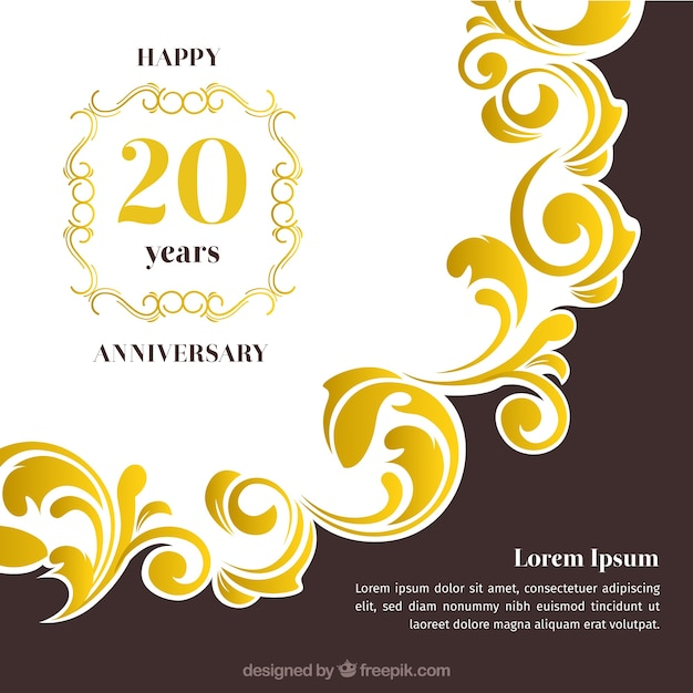 Happy anniversary card with ornaments in golden style Free Vector