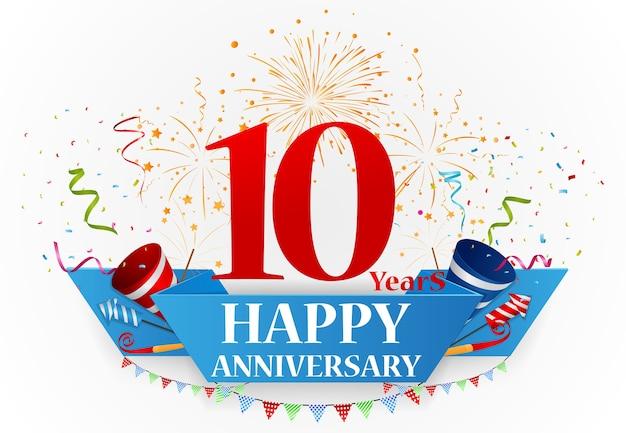 Happy anniversary celebration design Premium Vector