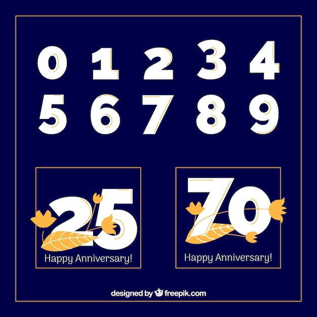 Happy anniversary collection with numbers Free Vector