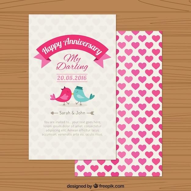 happy anniversary cute bird in love card free vector