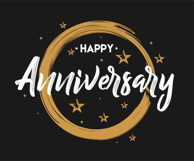 happy anniversary hand drawn lettering for greeting invitation card celebrate premium vector