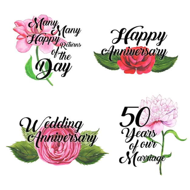 Happy anniversary logo collection with watercolor floral Free Vector