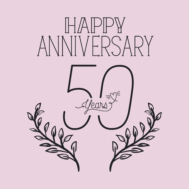 Happy anniversary number fifty with wreath crown Premium Vector