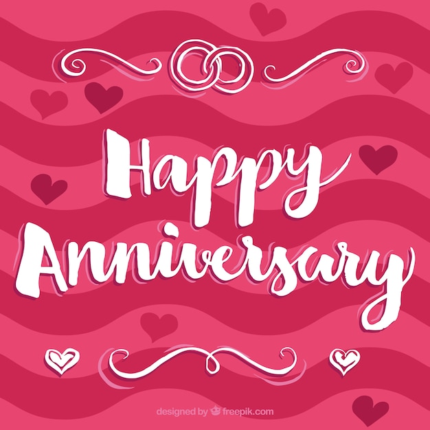 Happy anniversary pink background vector free download