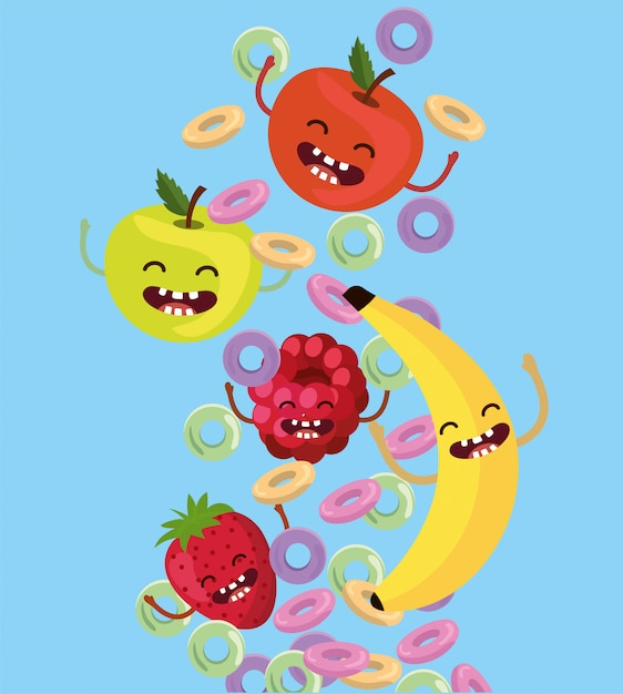 Happy apples with strawberry and blackberry with cereal Premium Vector