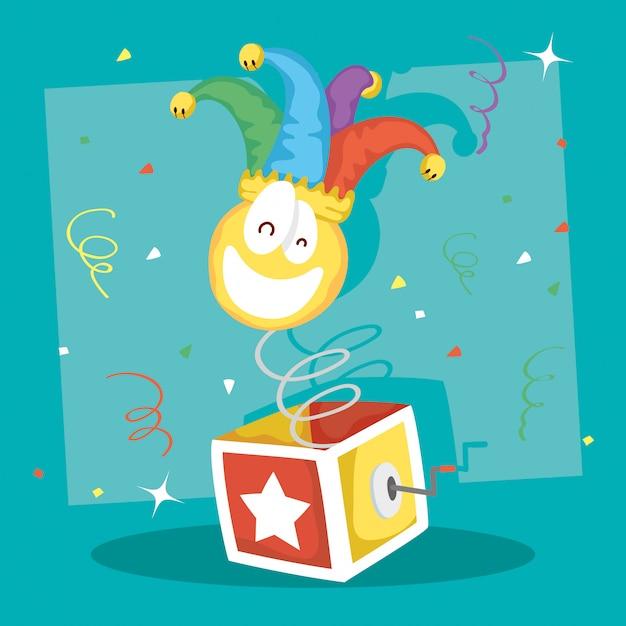 Happy april fools day illustration with surprise box and crazy emoji Premium Vector