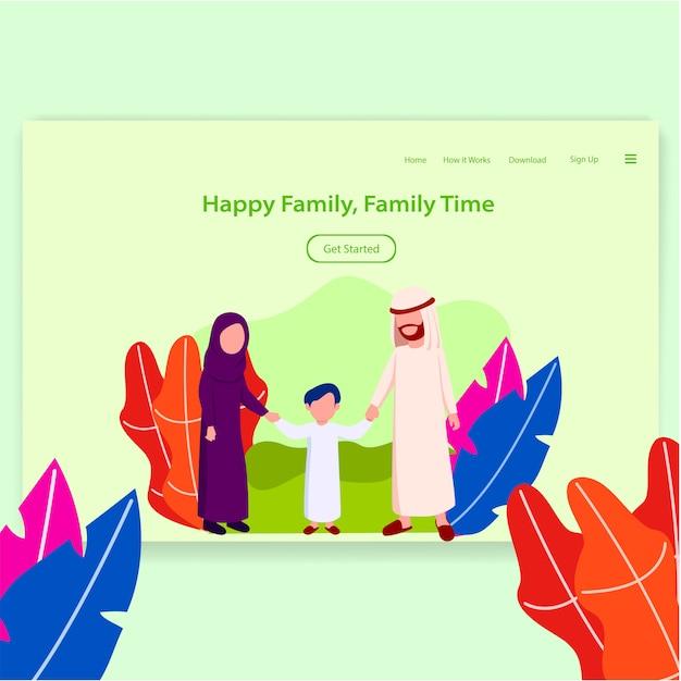 Happy arabian family landing page Premium Vector