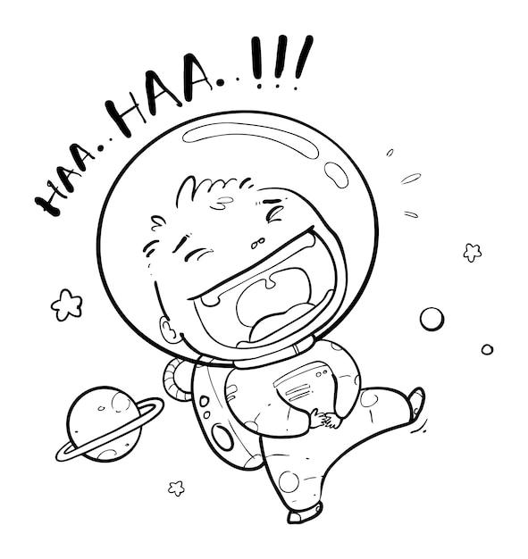 Happy astronaut doodle Premium Vector