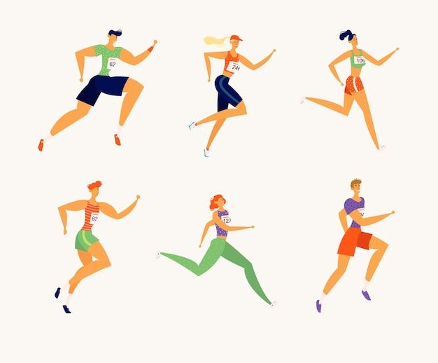 Счастливые люди спортсменов символов бега марафон Premium векторы