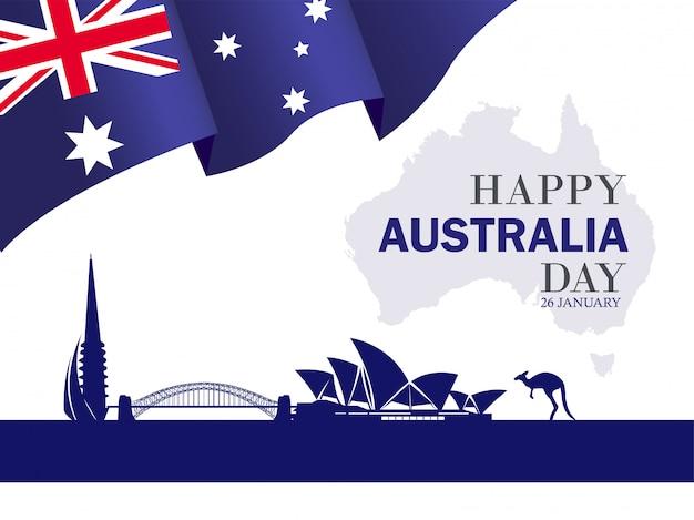 Happy australia day 26 january festive background Premium Vector