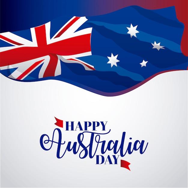 Счастливое знамя австралии на сером цвете, иллюстрация флага Бесплатные векторы