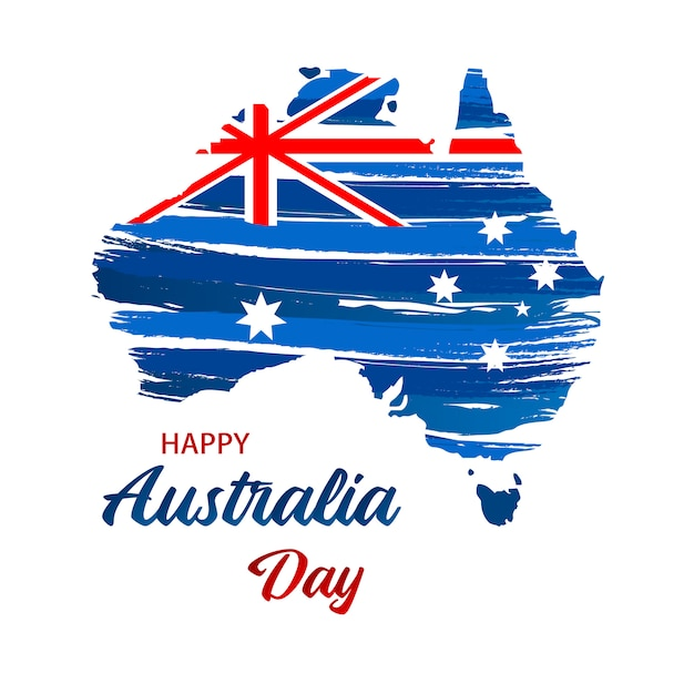 Australia Map With Flag.Happy Australia Day Map Of Australia With Flag Vector Illustration