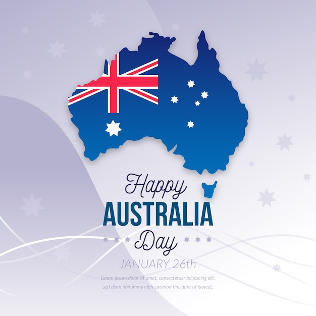 Happy australia day with flag and continent Free Vector