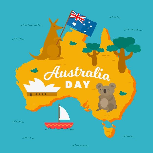 Happy australia day with koalas and kangaroos Free Vector