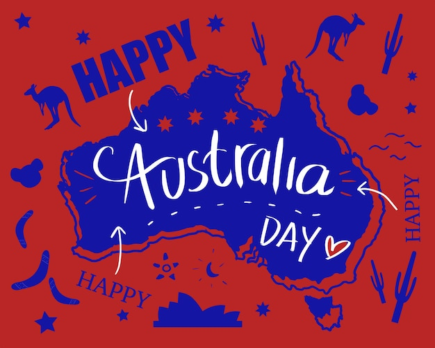 Australia Map And Flag.Happy Australia Day With Map And Flag In Doodle Illustration Art