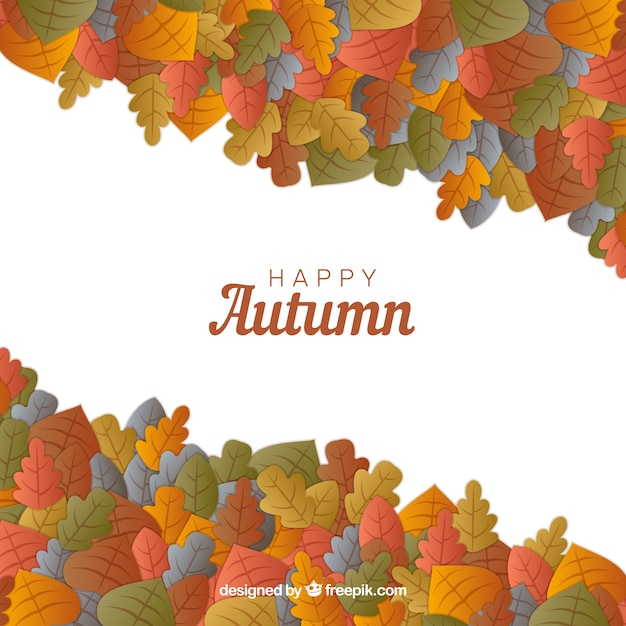 Happy autumn sale with colorful leaves
