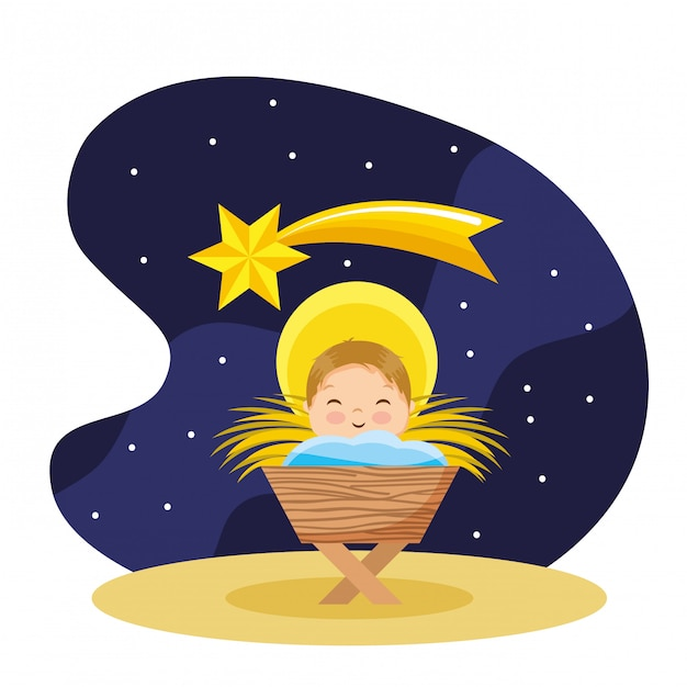 Happy baby jesus cartoon in the nigh Premium Vector
