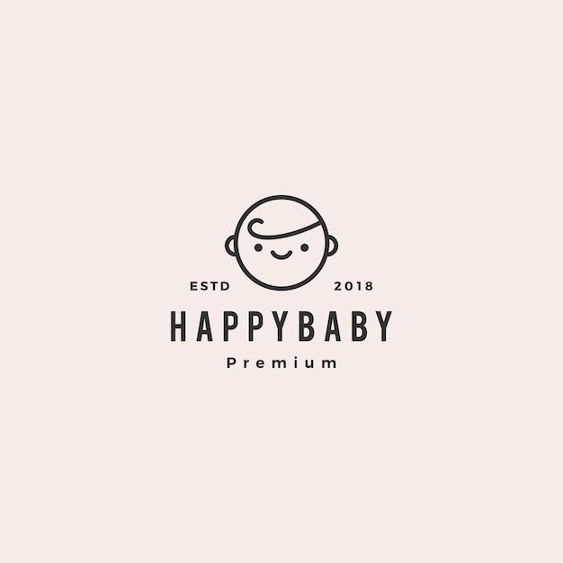 Happy baby toddler babies logo Premium Vector