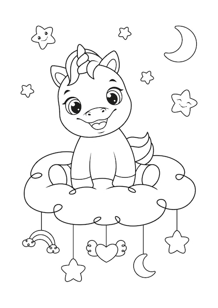 Happy baby unicorn sitting on the cloud coloring page Premium Vector