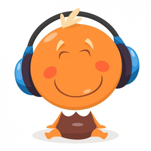 Happy Baby with Headphones Free Vector