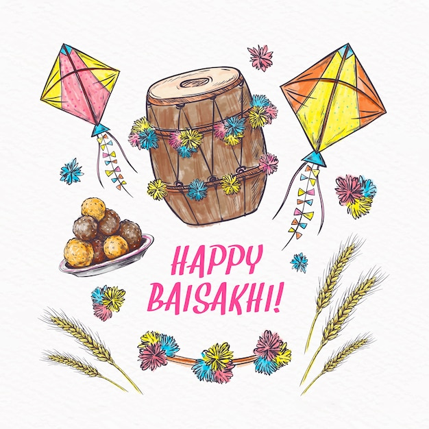 Happy baisakhi event with wheat and kites Free Vector