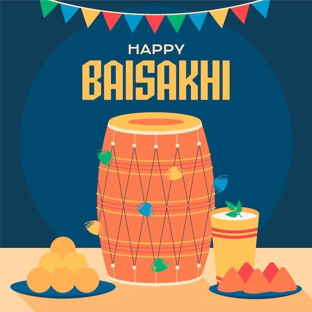 Baisakhi felice con batteria e drink Vettore gratuito