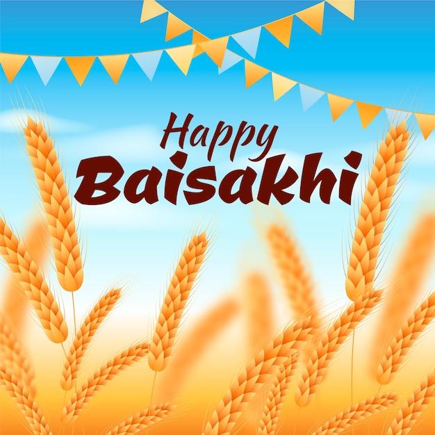 Baisakhi felice con grano Vettore gratuito